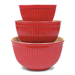 Omniware Simsbury Red Stoneware 3 Piece Nesting Mixing Bowl Set
