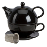 Omniware Black Ceramic Tea for One with Infuser