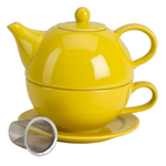 Omniware Yellow Ceramic Tea for One with Infuser