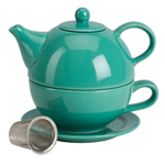 Omniware Teal Ceramic Tea for One with Infuser
