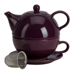 Omniware Aubergine Ceramic Tea for One with Infuser