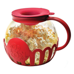 Ecolution Kitchen Extras Borosilicate Glass 3 Quart Popcorn Popper with Red Lid and Protective Holder