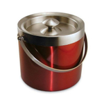 Red Double Walled Stainless Steel Ice Bucket