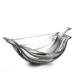 Nambe Drift Glass Oval Salad Serving Bowl with Servers Set