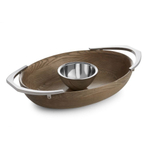 Nambe Cabo Alloy and American Ash Wood 17.5 x 11 Inch Chip & Dip Server