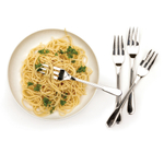 RSVP Endurance Monty's Stainless Steel 8 Inch Pasta Fork, Set of 4