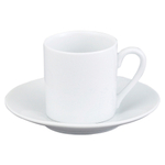 HIC Harold Import Co White Porcelain 2.25 Ounce Demi Espresso Cup and Saucer, Service for 4
