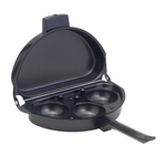 HIC Harold Import Co Deluxe Non-Stick Carbon Steel Omelet Pan with Egg Poacher Insert