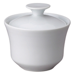HIC Harold Import Co White Porcelain 9 Ounce Brazil Sugar Bowl with Lid