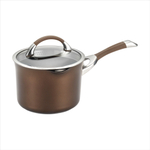 Circulon Symmetry Chocolate Aluminum 3.5 Quart Straining Saucepan with Lid