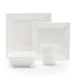 Fortessa Fortaluxe SuperWhite Vitrified China Plaza 16 Piece Place Setting