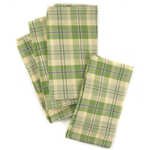 Town and Country Home Green Plaid 100% Cotton Cloth Dinner Napkin, Set of 6