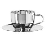 Oggi Stainless Steel 8 Ounce Cappuccino Cup and Saucer Set, Service for 1