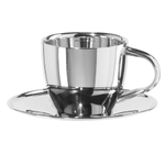 Oggi Stainless Steel 6 Ounce Coffee Cup and Saucer Set, Service for 1