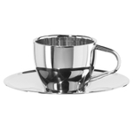 Oggi Stainless Steel 4 Ounce Espresso Cup and Saucer Set, Service for 1