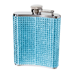 Oggi Stainless Steel Blue Glitz 6 Ounce Hip Flask