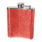 Oggi Stainless Steel Red Glitz 6 Ounce Hip Flask