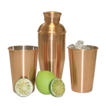 Oggi Stainless Steel 3 Piece Cocktail Shaker Set with Copper Exterior