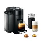 DeLonghi Nespresso Vertuo Black Coffee and Espresso Machine with Aeroccino Milk Frother and Free Set of 6 Espresso Glasses