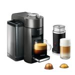 DeLonghi Nespresso Vertuo Graphite Metal Coffee and Espresso Machine with Aeroccino Milk Frother and Free Set of 6 Espresso Glasses