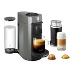 DeLonghi Nespresso Vertuo Plus Grey Coffee and Espresso Machine with Aeroccino Milk Frother and Free Set of 6 Espresso Glasses
