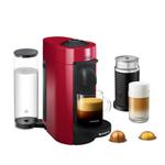 DeLonghi Nespresso Vertuo Plus Red Coffee and Espresso Machine with Aeroccino Milk Frother and Free Set of 6 Espresso Glasses