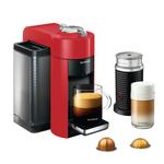 DeLonghi Nespresso Vertuo Red Coffee and Espresso Machine with Aeroccino Milk Frother and Free Set of 6 Espresso Glasses