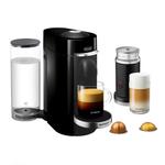 DeLonghi Nespresso Vertuo Plus Deluxe Black Coffee and Espresso Machine with Aeroccino Milk Frother and Free Set of 6 Espresso Glasses