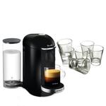 Breville Nespresso VertuoPlus Deluxe Piano Black Coffee Machine with Free Set of 6 Espresso Glasses