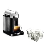 Breville Nespresso Vertuo Chrome Coffee Machine with Free Set of 6 Espresso Glasses