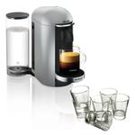 Breville Nespresso VertuoPlus Deluxe Silver Coffee Machine with Free Set of 6 Espresso Glasses