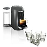 Breville Nespresso VertuoPlus Deluxe Titan Coffee Machine with Free Set of 6 Espresso Glasses