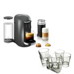 Breville Nespresso VertuoPlus Deluxe Titan Coffee Machine with Aeroccino Milk Frother and Free Set of 6 Espresso Glasses