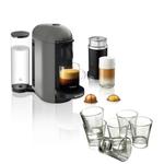 Breville Nespresso VertuoPlus Gray Coffee Machine with Aeroccino Milk Frother and Free Set of 6 Espresso Glasses