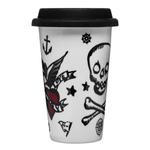 Sagaform Take Away Tattoo Print Porcelain 8.5 Ounce Travel Mug with Silicone Lid