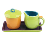Omniware Hemisphere Multi Color Stoneware Cream and Sugar Set with Tray