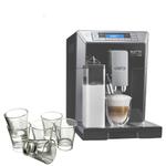 DeLonghi Eletta Black Cappuccino Top Digital Super Automatic Machine with 6 Piece Espresso Glass Set