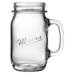 Anchor Hocking Mason Embossed Glass 16 Ounce Canning Jar Mug, Set of 16