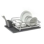 Ta Da Aluminum Dish Rack with Dark Gray Silicone Drying Mat