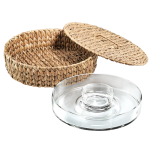 Artland Garden Terrace Seagrass and Glass Covered 13.5 Inch Chip-N-Dip Server Set