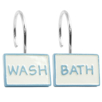 Blue and White Words Shower Curtain Hooks, Set of 12