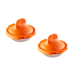 Lékué Orange Silicone and Stainless Steel Poached Egg Cooker, Set of 2