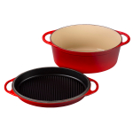 Le Creuset Cerise 7.25 Quart Oval Dutch Oven with Reversible Grill Pan Lid