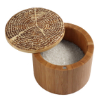 Totally Bamboo Bamboo 6 Ounce Tree Of Life Round Salt Box