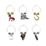 Supreme Housewares Equestrian 6 Piece Painted Wine Charm Set