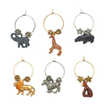 Supreme Housewares Safari 6 Piece Painted Wine Charm Set