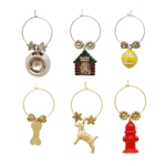 Supreme Housewares A Dog's Life 6 Piece Painted Wine Charm Set