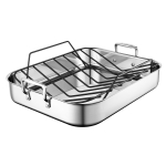 Le Creuset Stainless Steel Large 16.25 x 13.25 Inch Roasting Pan with Nonstick Rack
