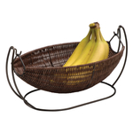 Anchor Hocking Intermezzo Brown Wicker Wire Banana Basket
