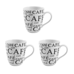 Gourmet Cafe Large Porcelain Coffee Mug, Set of 3